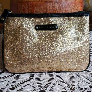 Betsey Johnson Gold Glitter Cosmetic Bag